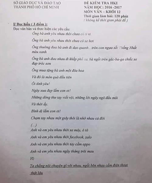 Đề thi kiểm tra về bài hát ông bà anh gây sốt.