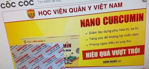 Sản phẩm Nano Curcumin Tam thất xạ đen được quảng cáo trên bìa sản phẩm chỉ là phòng ngừa điều trị ung thư, tăng sức đề kháng hệ miễn dịch, giảm tác dụng phụ hóa trị, xạ trị...