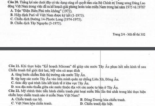Câu 22 của mã đề 302 môn Lịch sử trong kỳ thi quốc gia