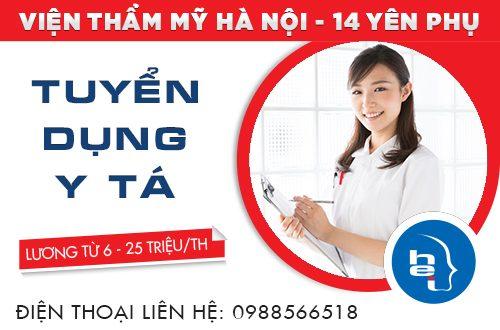 Tuyển dụng y tá làm việc tại Viện thẩm mỹ Hà Nội với mức lương từ 6-25 triệu.