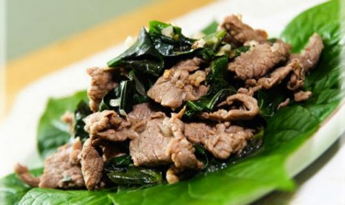 Thịt bò xào lá lốt là món ăn mà bệnh nhân có thể sử dụng